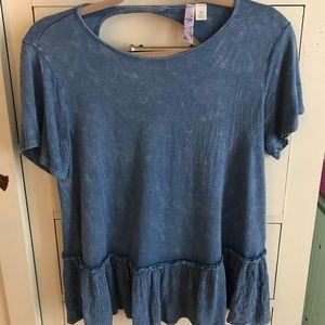Francesca's Royal Blue Ruffle T-shirt